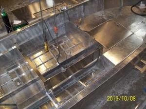 Kylplattor. 4 kvm för motorkylning och 1 kvm för laddluftkylaren.
